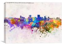 Anchorage skyline in watercolor background, Canvas Print
