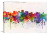 Jackson skyline in watercolor background, Canvas Print