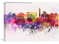 Bari skyline in watercolor background, Canvas Print