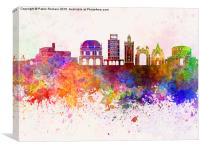 Brescia skyline in watercolor background, Canvas Print