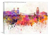 Bristol skyline in watercolor background, Canvas Print
