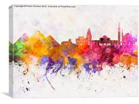 Cairo skyline in watercolor background, Canvas Print