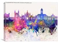Cambridge skyline in watercolor background, Canvas Print
