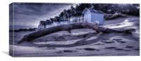 Beach Hut Blues, Canvas Print