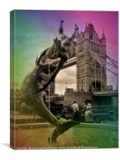 Tower bridge and the girl with a dolphin          , Canvas Print