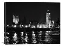 Palace of Westminster at night, Canvas Print