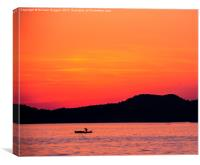 Croatian fishing Boat Sunset, Canvas Print