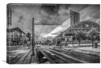 Manchester Morning Tram (Black and White), Canvas Print