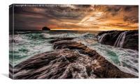 Trebarwith Sunset, Canvas Print