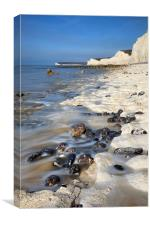 Low Tide at the Seven Sisters , Canvas Print