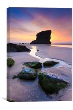 Sunset at Bedruthan Steps, Canvas Print