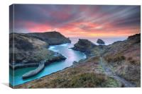 Sunset at Boscastle, Canvas Print