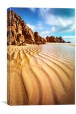 Sand Pand Patterns at Pedn Vounder, Canvas Print