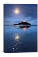 Moonlight Reflections (Marazion Beach), Canvas Print