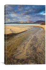 Stream on Luskentyre Beach , Canvas Print