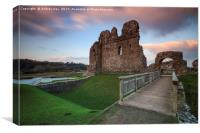 Sunset at Ogmore Castle, Canvas Print