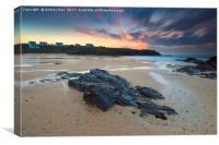 Treyarnon Beach at Sunset, Canvas Print