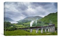Jacobite Express crossing Glenfinnan Viaduct, Canvas Print