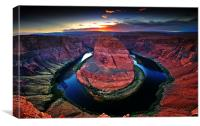 Horseshoe Bend during sunset, Canvas Print
