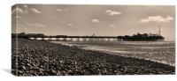 Brighton Pier & Beach - sepia, Canvas Print