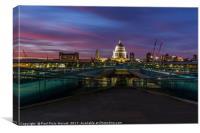 St Paul's Cathedral & Millennium Bridge @ Dusk II, Canvas Print
