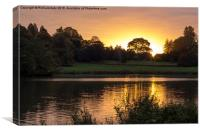 Ripley Castle Lake Sunrise , Canvas Print