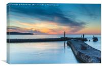 Whitby Harbour Sunset, Canvas Print