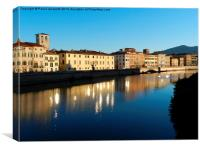 Special effects on Arno River, Pisa, Canvas Print