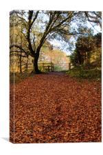 Autumn leaves through gateway, Canvas Print