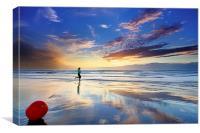 Jogging At Sunset, Canvas Print