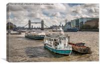 Thames Boats, Canvas Print
