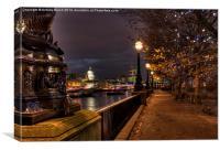 Embankment Lights, Canvas Print