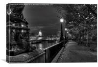 Embankment Lights (Mono), Canvas Print