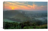 Corfe Castle Misty Dawn, Canvas Print