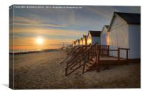 Old Felixtowe beach hut Sunset, Canvas Print