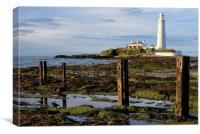 St Mary's Lighthouse Whitley Bay, Canvas Print