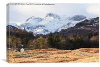 Snow on the Langdale Pikes, Canvas Print