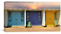 the colourful beach Huts , Canvas Print