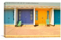 Beach Huts Bournemouth beach , Canvas Print