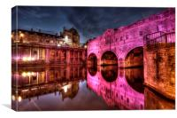 Pulteney Bridge in pink 2014, Canvas Print