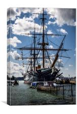 HMS WARRIOR in PORTSMOUTH HARBOUR , Canvas Print