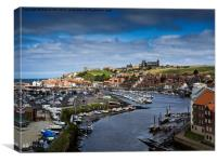 Whitby Harbour and Abbey., Canvas Print