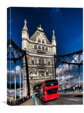London Red bus on Tower bridge., Canvas Print