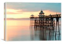 Sunset at Clevedon Pier, North Somerset, United K, Canvas Print