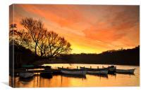 Rowing Boats at Dawn, Canvas Print