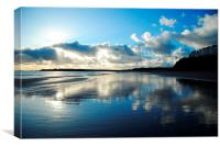 Tenby Beach and cloud formation with the clouds re, Canvas Print