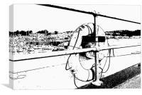 Saundersfoot Harbour Sketch effect, Canvas Print