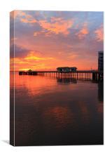 Penarth Pier and an amazing sunrise, Canvas Print
