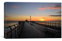 Penarth Pier at sun rise, in South Wales ovelookin, Canvas Print