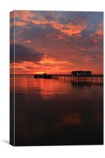 Penarth Pier and amazing sun rise over the Channel, Canvas Print